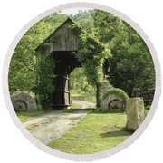 One Lane Covered Bridge Round Beach Towel