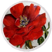 One Lone Wild Rose Round Beach Towel