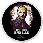 One Man Three Rules - Transporter Round Beach Towel