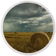 Round Beach Towel featuring the photograph One More Time A Round by Aaron J Groen
