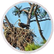 Round Beach Towel featuring the photograph One More Twig by Deborah Benoit