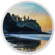 One Morning At The Beach Round Beach Towel
