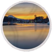 Round Beach Towel featuring the photograph One Morning In Gig Harbor by Ken Stanback