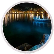 One Night In Portofino - Una Notte A Portofino Round Beach Towel