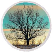 Round Beach Towel featuring the photograph One by Nina Stavlund