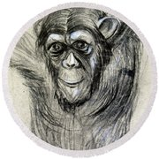 One Of A Kind Original Chimpanzee Monkey Drawing Study Made In Charcoal Round Beach Towel by Marian Voicu