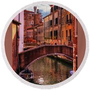 One Of The Many Canals Of Venice Round Beach Towel