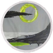 Round Beach Towel featuring the painting One Of Those Days by Victoria Lakes
