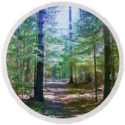 One Path Round Beach Towel by Shirley Moravec