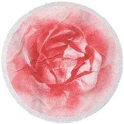 One Perfect Rose Round Beach Towel by Iryna Goodall