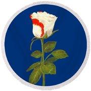 Round Beach Towel featuring the pastel One Rose by Anastasiya Malakhova