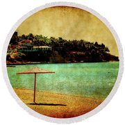 One Summer Day In Greece Round Beach Towel by Milena Ilieva