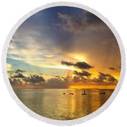 Round Beach Towel featuring the photograph One Summer Night... by Melanie Moraga