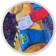 Round Beach Towel featuring the painting One Team Two Heroes 3 by Donald J Ryker III