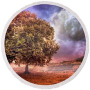 Round Beach Towel featuring the photograph One Tree In The Meadow by Debra and Dave Vanderlaan