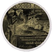 Round Beach Towel featuring the digital art One U.s. Dollar Bill - 1896 Educational Series In Gold On Black  by Serge Averbukh