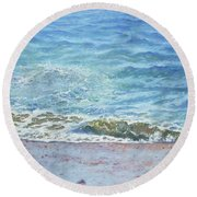 Round Beach Towel featuring the painting One Wave by Martin Davey