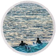 One With The Sun Round Beach Towel