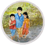 Round Beach Towel featuring the painting Onion Farm Children Bali Indonesia by Melly Terpening