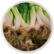 Onions 02 Round Beach Towel by Wally Hampton