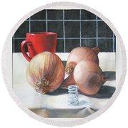 Onions Round Beach Towel by Tim Johnson