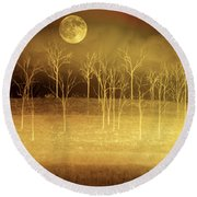 Only At Night Round Beach Towel