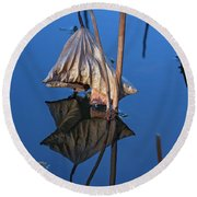 Round Beach Towel featuring the photograph Only In Still Water by Linda Lees