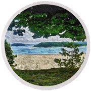 Round Beach Towel featuring the painting Onset, Ma by Joan Reese