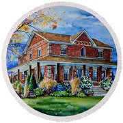 Round Beach Towel featuring the painting Ontario House Portrait  by Hanne Lore Koehler