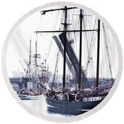 Round Beach Towel featuring the photograph Oosterschelde Leaving Port by Stephen Mitchell