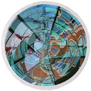Op Art Windows Double Exposure Round Beach Towel by Marianne Campolongo