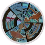 Op Art Windows Orb Round Beach Towel