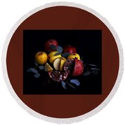 Opal Apples And Pomegranates Round Beach Towel