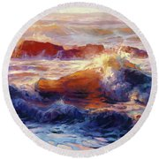 Opalescent Sea Round Beach Towel