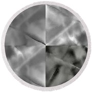 Opaque Panes Monochrome And Black And White Round Beach Towel