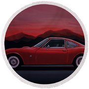 Opel Gt 1969 Painting Round Beach Towel