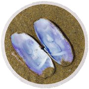 Open Clam Shell Round Beach Towel by Adria Trail