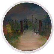 Round Beach Towel featuring the painting Open Gate by Denise Tomasura