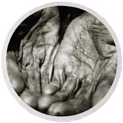 Two Old Hands Round Beach Towel