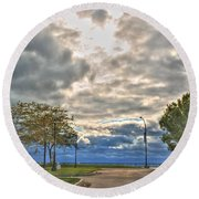 Open Heavens  Round Beach Towel