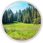 Round Beach Towel featuring the photograph Open Meadow- by JD Mims