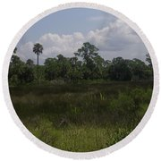 Open Meadow Of Trees Round Beach Towel