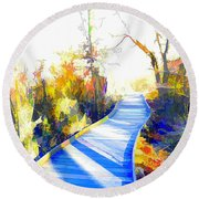 Open Pathway Meditative Space Round Beach Towel