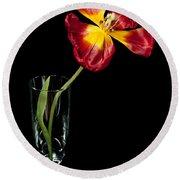 Open Red Tulip In Vase Round Beach Towel by Helen Northcott