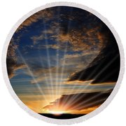 Round Beach Towel featuring the photograph Open Sky by Jennifer Muller