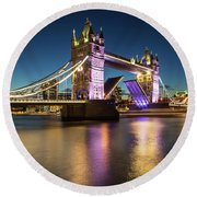 Open Tower Bridge London  Round Beach Towel