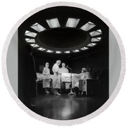 Round Beach Towel featuring the photograph Operating Room Theater 1933 by Daniel Hagerman