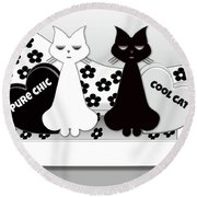Opposites Attract - Black And White Cats On The Sofa Round Beach Towel