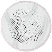 Round Beach Towel featuring the digital art Optical Illusions - Iconical People 1 by Klara Acel