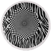 Round Beach Towel featuring the mixed media Optical Vortex by Douglas Fromm